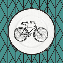 Porcelain Enamel Salad Plate - Bicycle