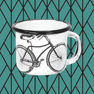 Porcelain Enamel Coffee Cup - Bicycle