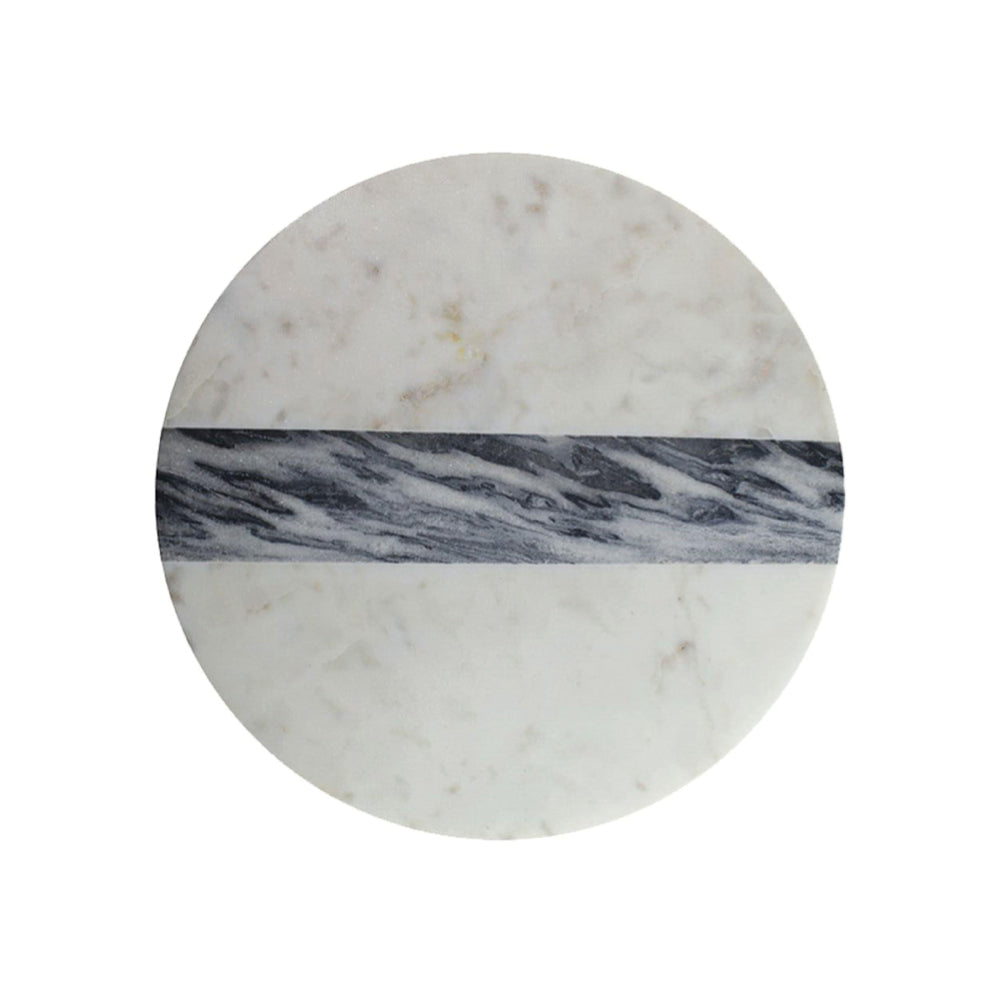 Round Board - White & Grey Marble