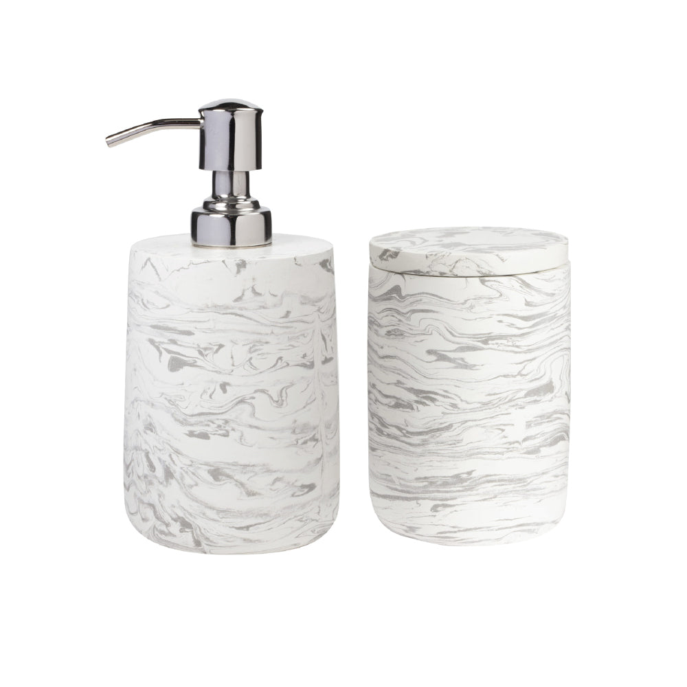 Bath Canister - Marbled Cement  Gray