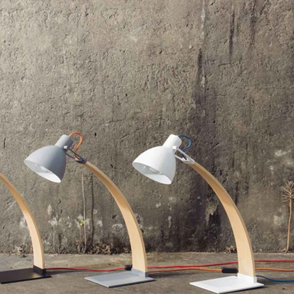Laito Wood Table Lamp - Matte White / Wood