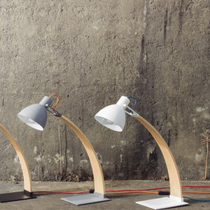 Laito Wood Table Lamp - Matte Grey + Wood