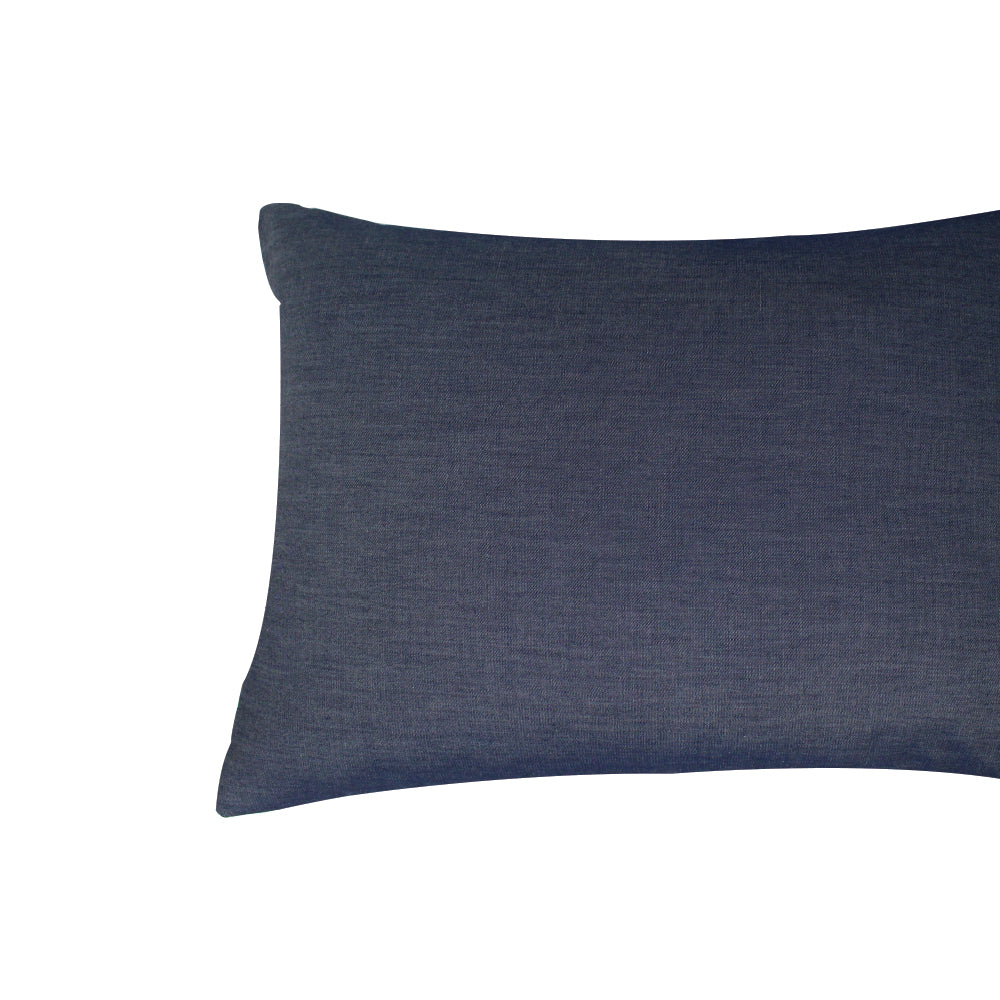 "Livia Pillow - Navy Denim - 20"" x 14"""