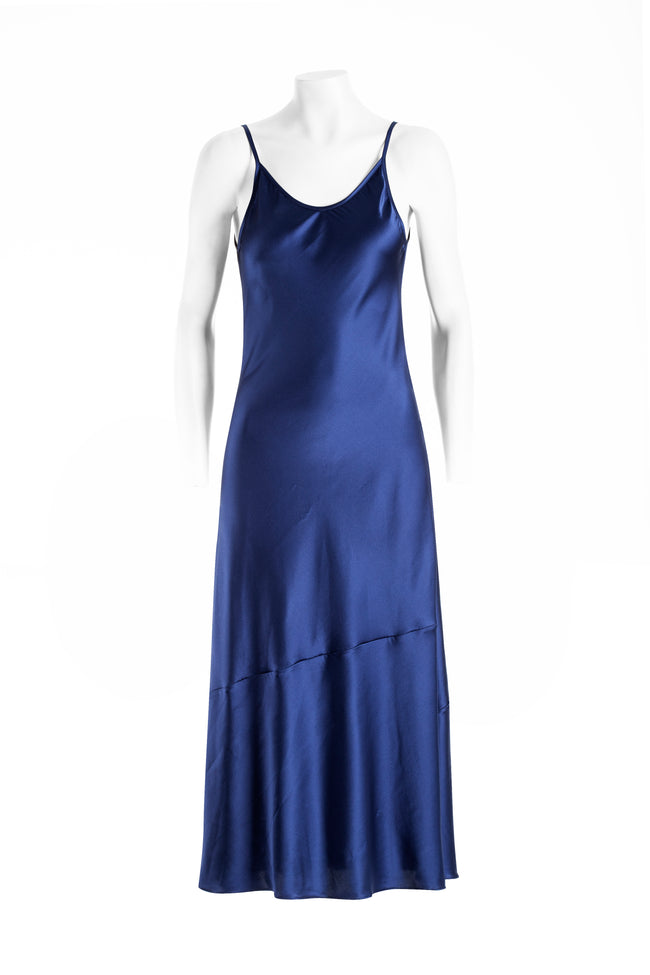 Flared silk slip dress in stretch silk