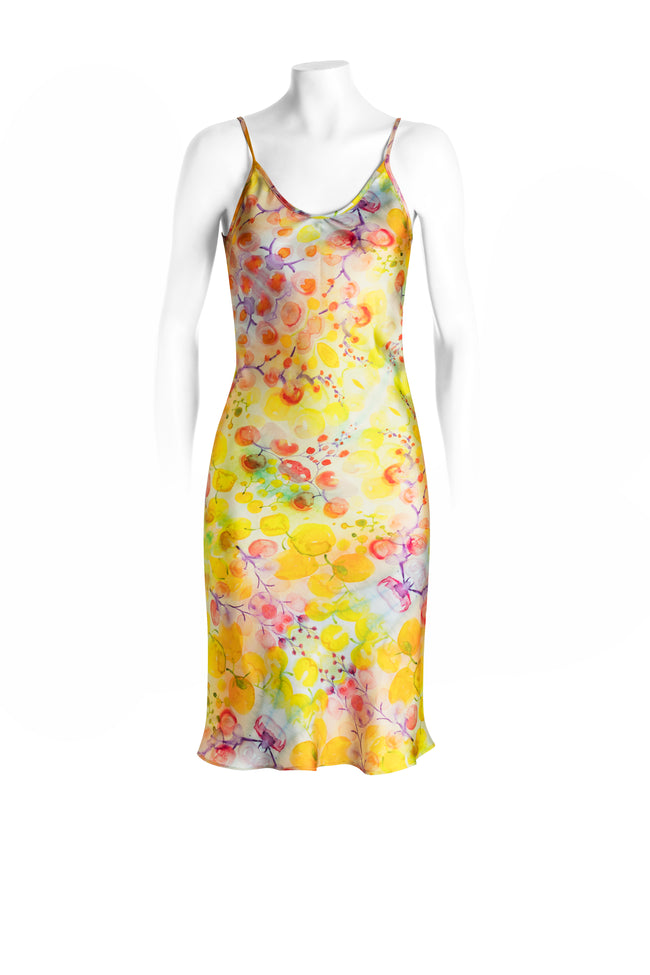 Yellow kaleidoscope silk slip dress, short