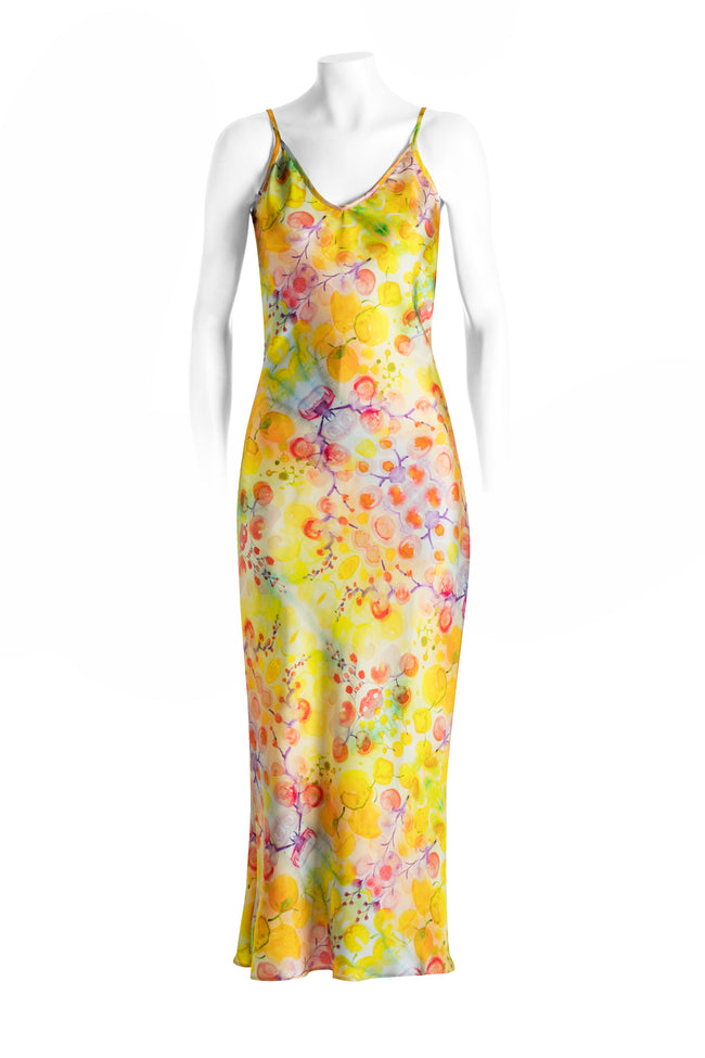 Yellow kaleidoscope silk slip dress, long