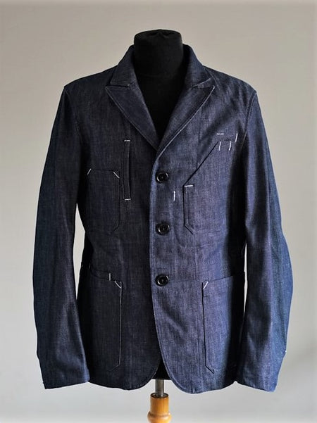 Rugged raw indigo denim blazer