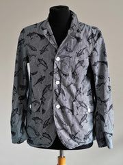 Printed indigo denim blazer