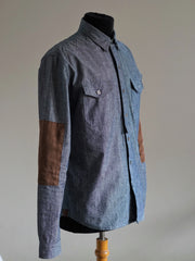Chambray Shirt with contrast Suede patch