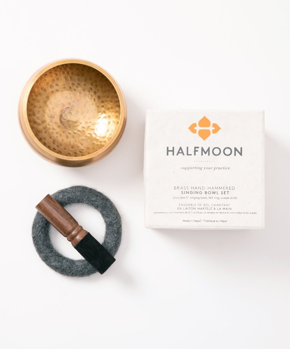 HALFMOON Hand-hammered Brass Singing Bowl Set