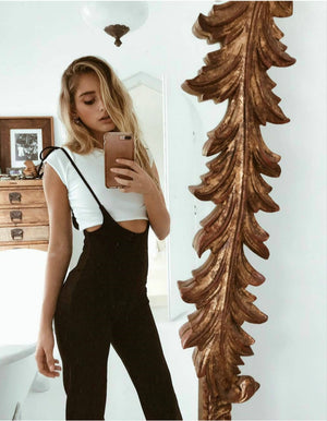 High Waist Lace Up Overalls