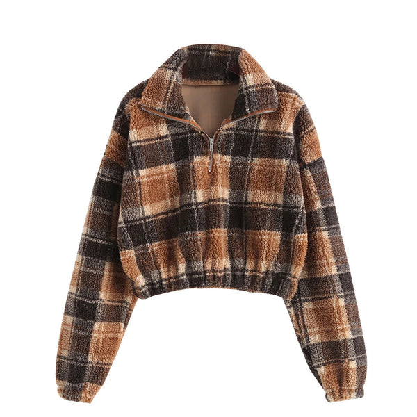 Long Sleeve Crop-top Flannel