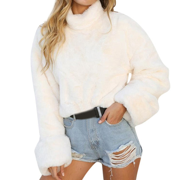 Fur Sweater Turtleneck Pullover