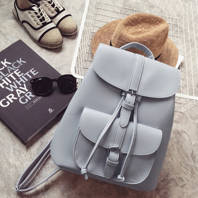 Leather Women Backpack School Bag