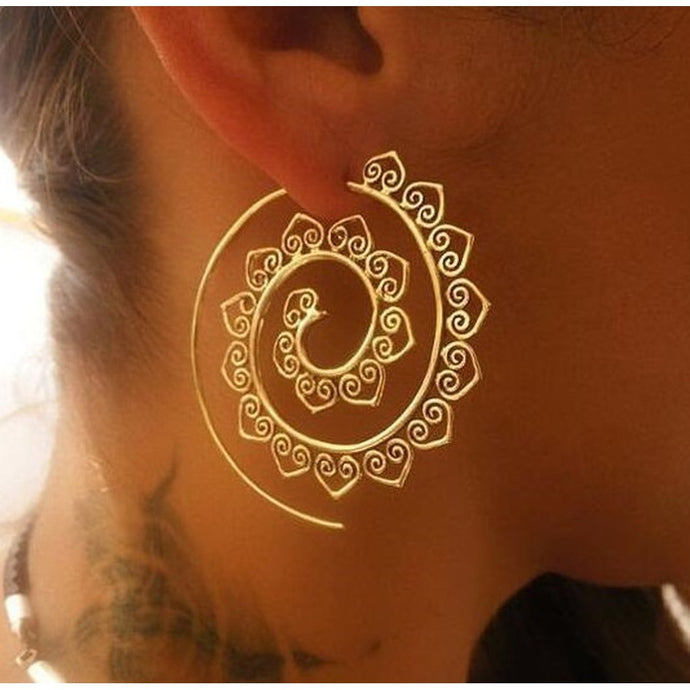Women Fashion  Whirlpool, Gear Shaped Earring  Circle, Spiral Ear Jewelry, Gold  Silver Pierced Earrings - Pretty|Funkie