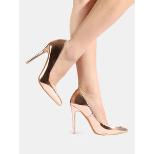 Clear Toe Metallic Pumps ROSE GOLD - Pretty|Funkie