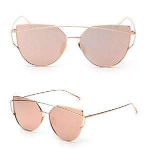 Women Fashion Twin-Beams Classic Metal Frame Mirror Sunglasses (Rose Gold) - Pretty|Funkie
