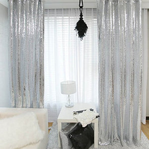 Sparkly Sequin Silver curtains - Multiple Sizes - Pretty|Funkie
