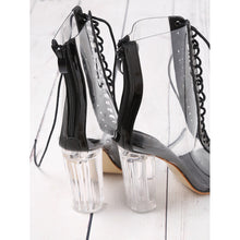 Lace Up Transparent Heels - Black - Pretty|Funkie