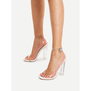 Ankle Strap Clear Design Heels - Pretty|Funkie