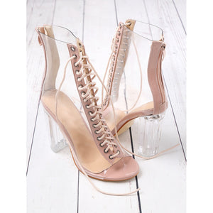 Lace Up Zipper Back Transparent Heels - Pretty|Funkie