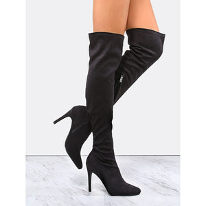 Pointy Toe Suede Stiletto Boots BLACK - Pretty|Funkie