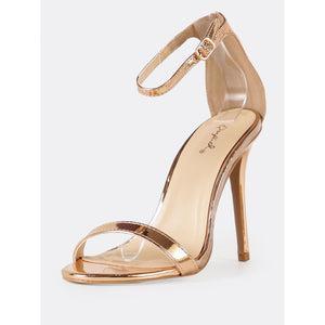 Metallic Single Band Stiletto Heel with Gemstone Accent - Pretty|Funkie
