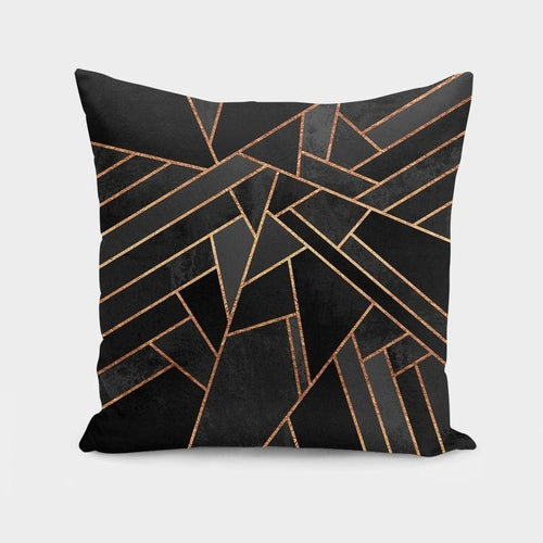 Gold Cracked Black Throw Pillow - Pretty|Funkie