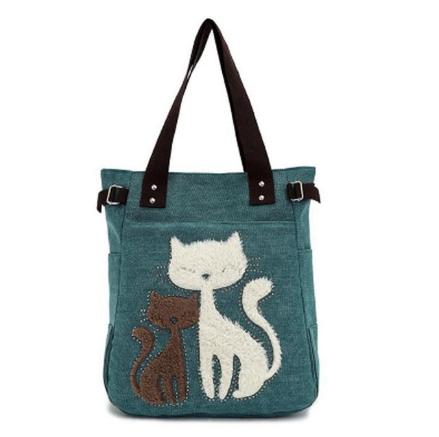 Fashion Women Canvas Handbag Cute Cat Appliques Travel Shoulder Bags