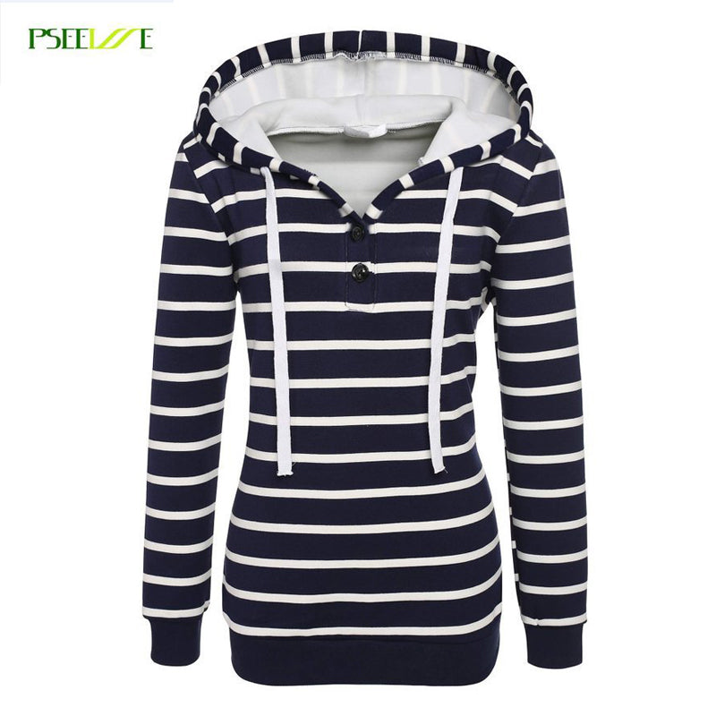 New hoodie sweatshirt Women Fashion Hooded Stripes Casual sweatshirt