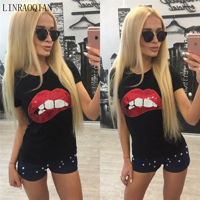 Cotton tshirt women tops sexy lip sequin top t shirt women clothing summer