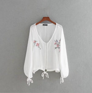 women elegant floral embroiderysummer thin long sleeve v-necka