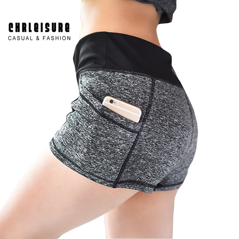 Woman's Short Patchwork Pocket   Slim Skinny Workout Leisure Elastic Shorts