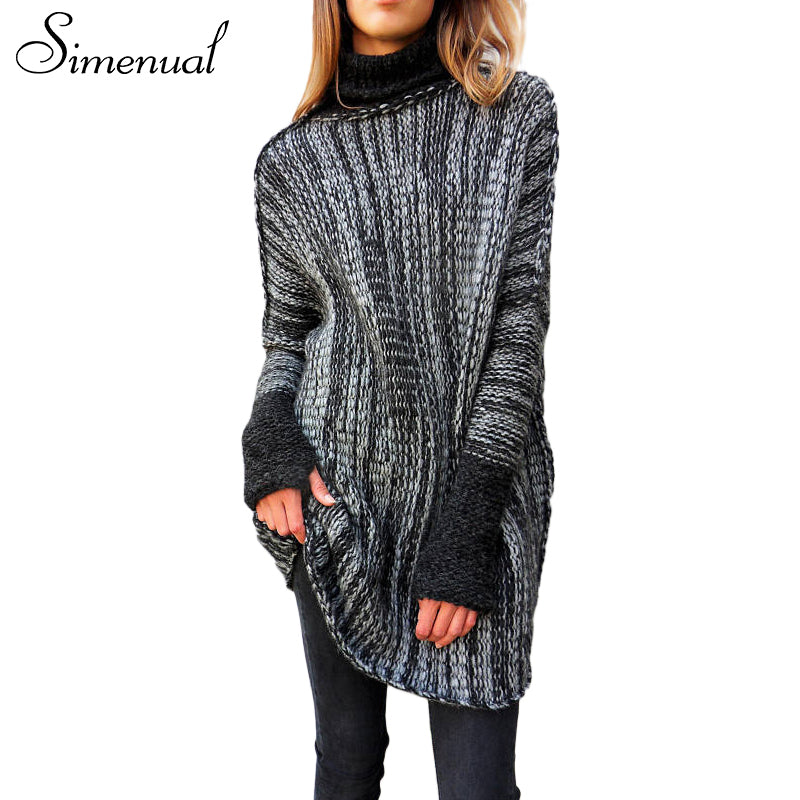 women's turtlenecks sweaters and pullovers patchwork long, casual slim knitted pullover