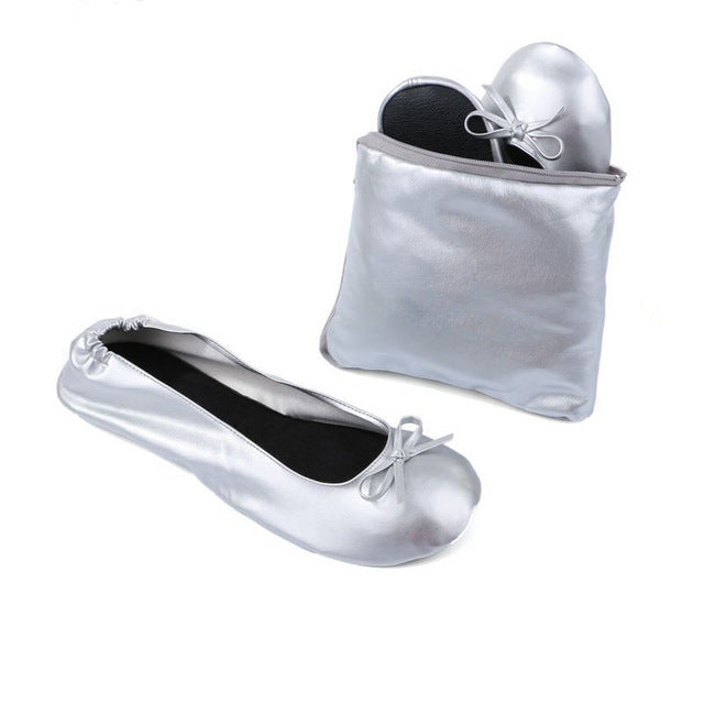 Women Ballet Flats Portable Fold up Shoes with shoes bag
