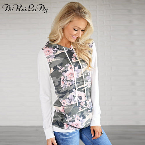 Camouflage Print Hoodies Long Sleeve Women Sweatshirt Hooded Tracksuit Jumper Pullover