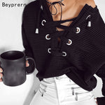 Women Jumper Short Lace Up Black Knitted Pullovers
