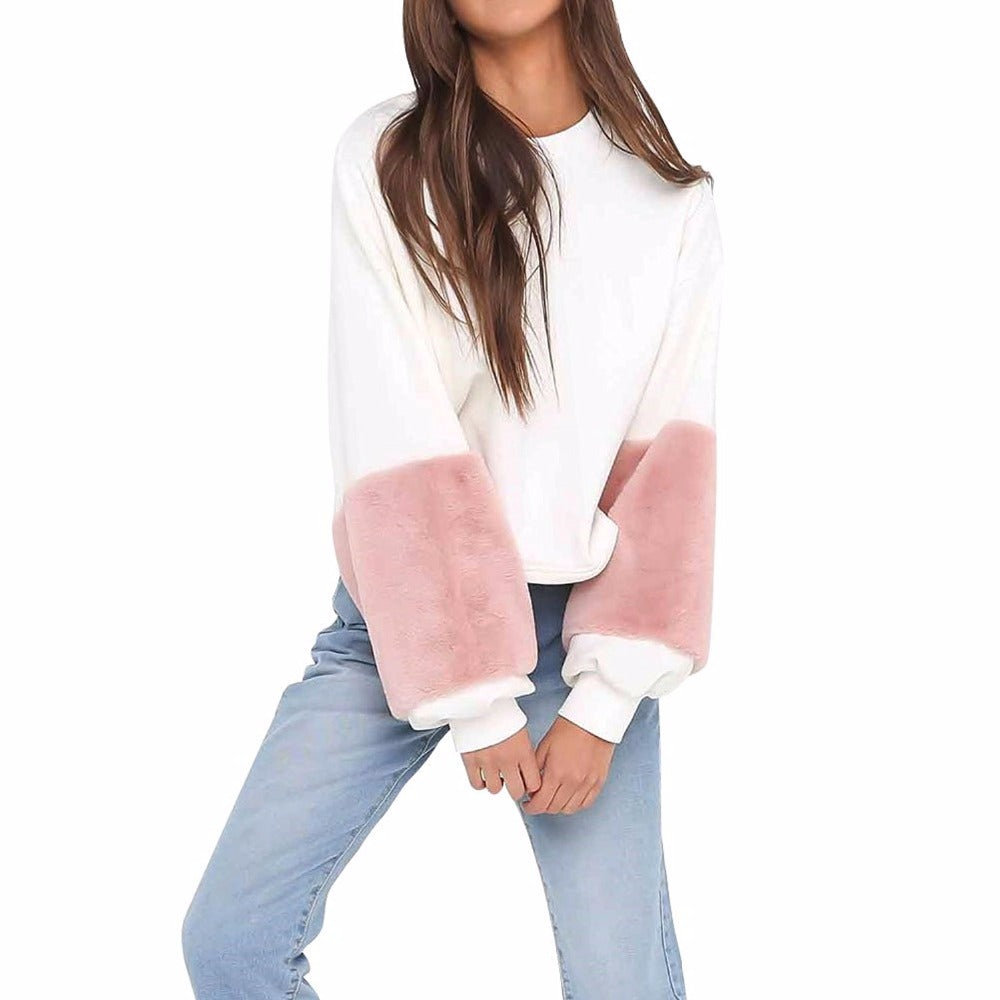 Long Sleeve Cotton Sweatshirt Women O Neck White Casual Pullovers Puff Sleeve