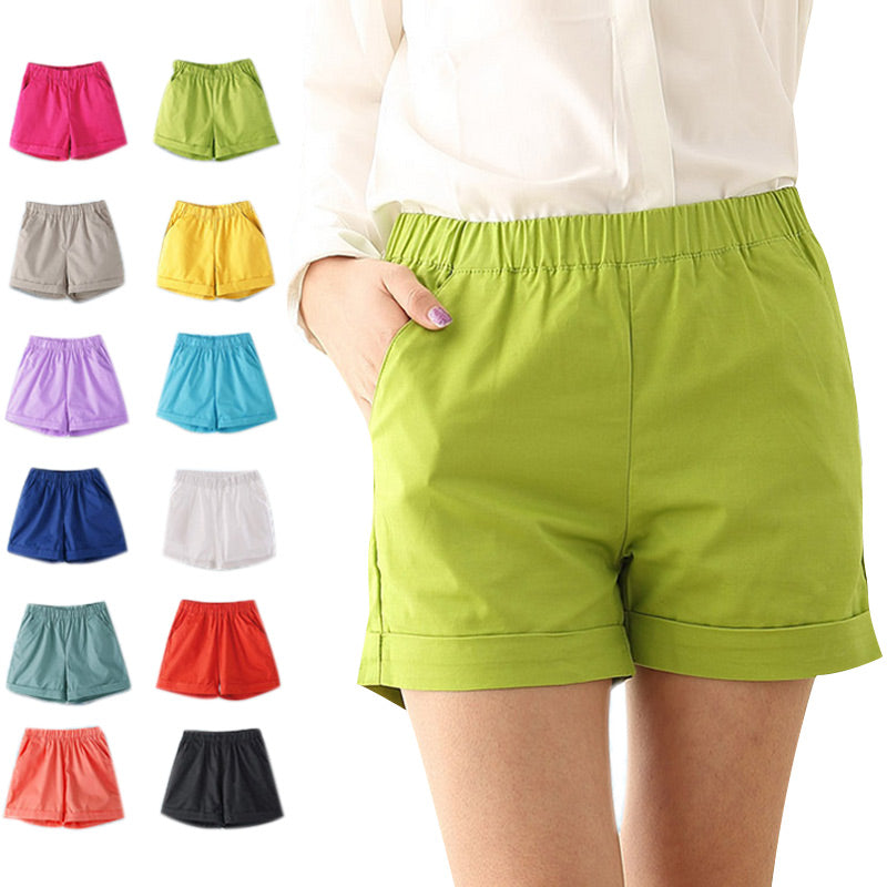 Fashion Summer Women Cotton Shorts Casual Elastic Waist
