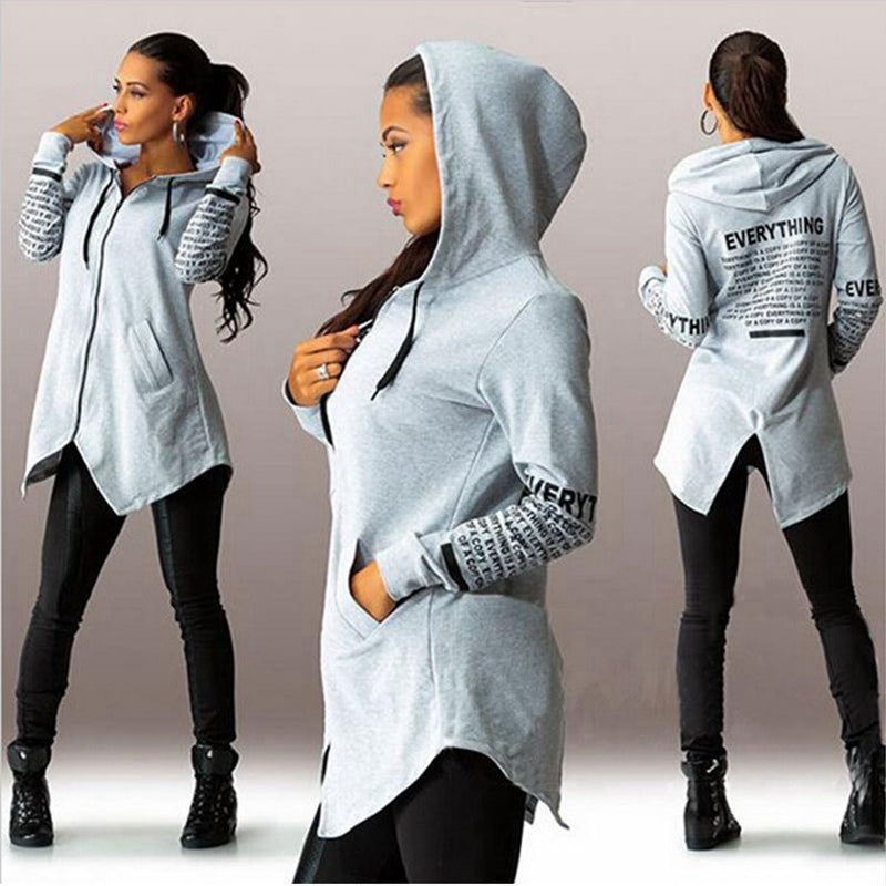 Women Hoodies Letter Pullover Top Warm Outerwear S-5XL