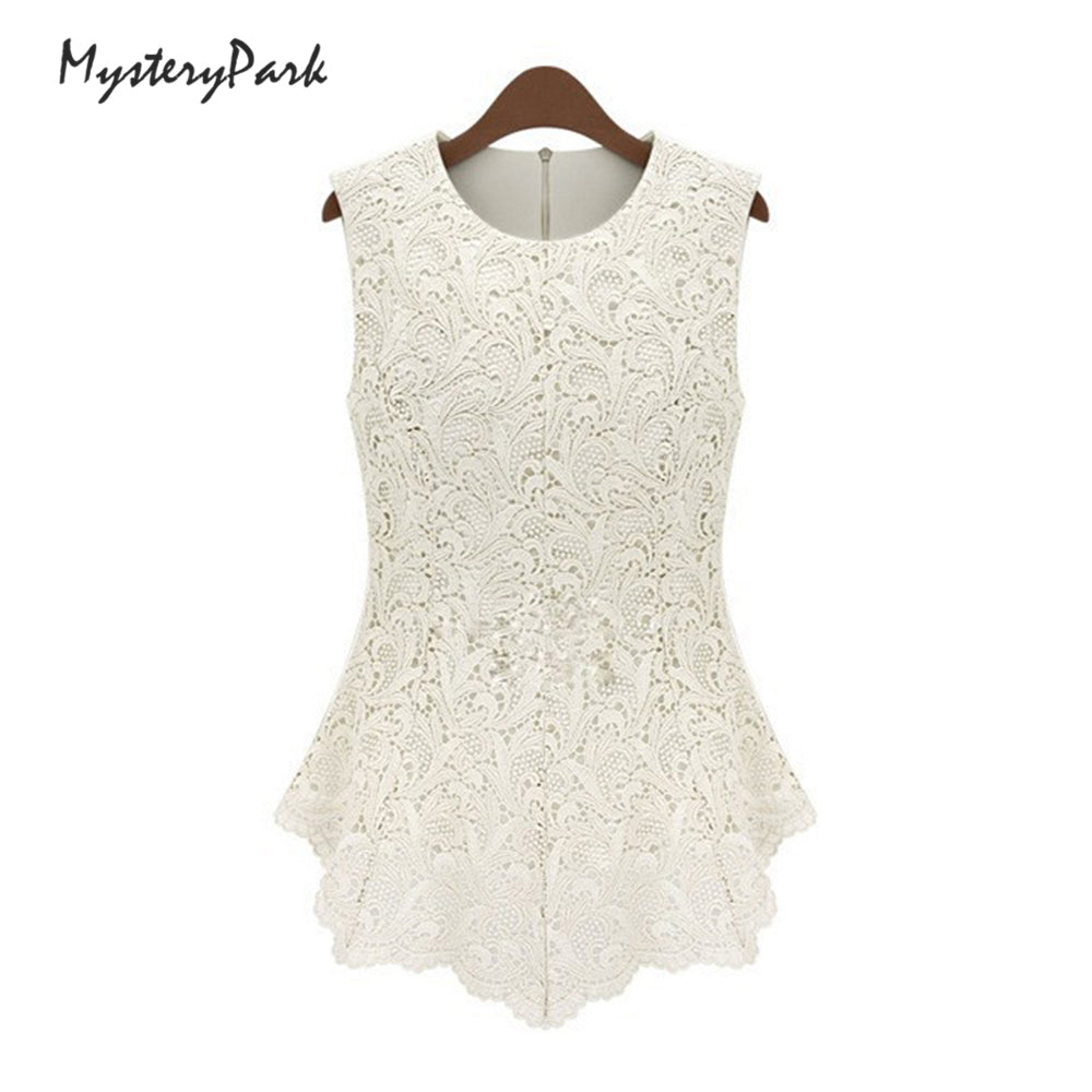 Women Blouse Lace  Vintage Sleeveless White Renda Crochet