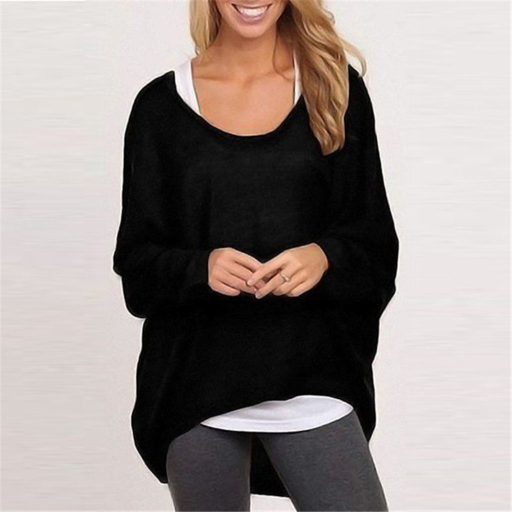 Sweater Pullovers Jumper Women Blouse Casual Loose Batwing Long Sleeve.