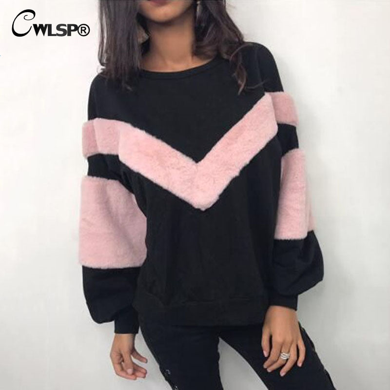 Women Sweatshirt Winter Pullovers Faux Fur Patchwork Female O Neck