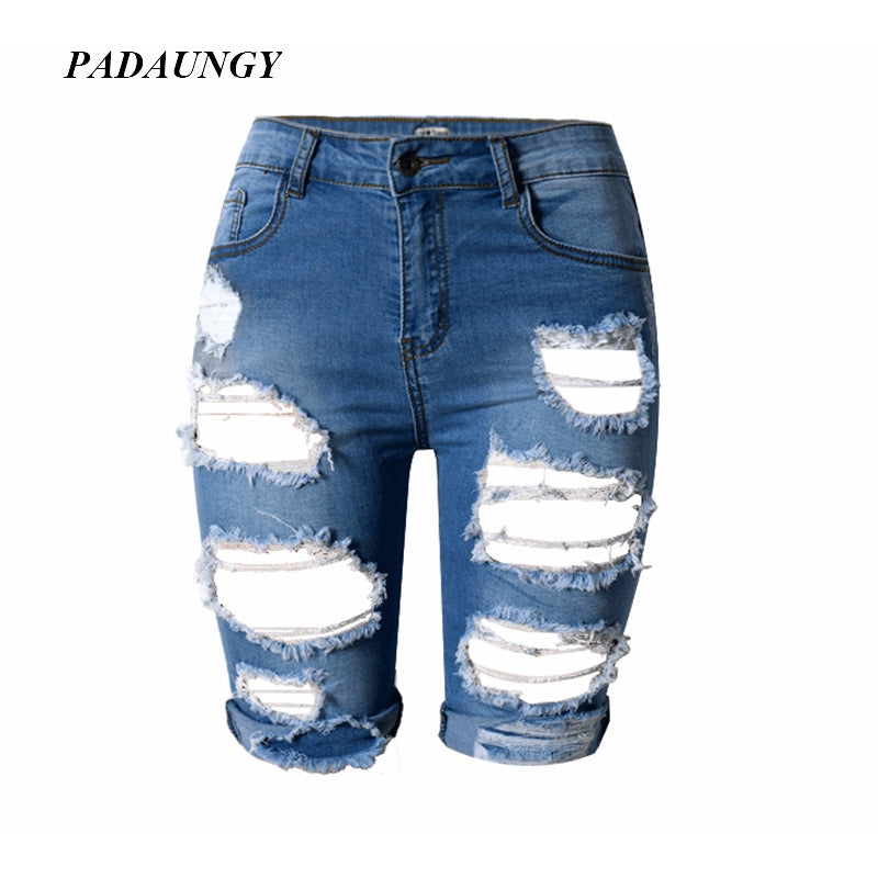 PADAUNGY Summer Ripped Jeans Women Hole  Knee Length Denim Short Pants  Plus Size