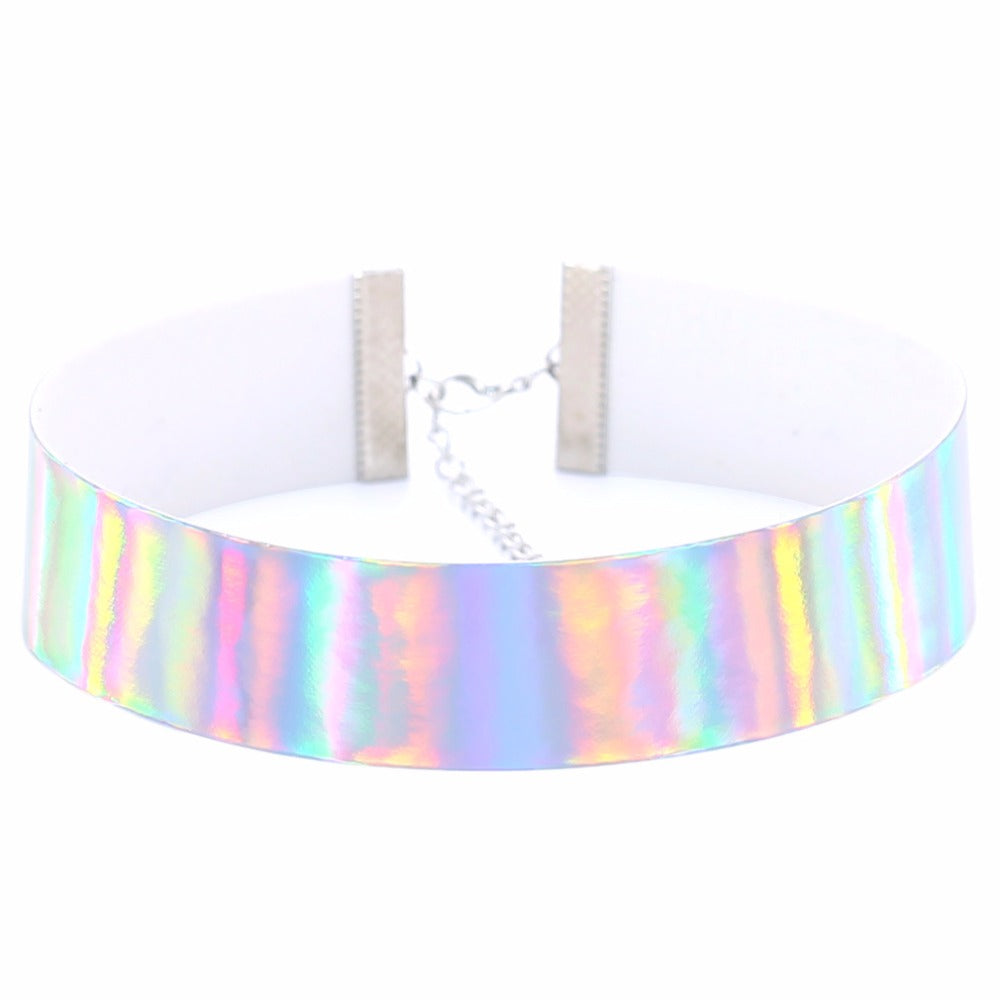 Trendy Holographic Choker Necklace Women PU Leather Chocker