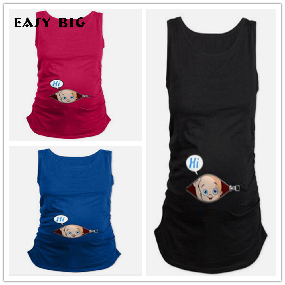 EASY BIG Summer Original Pregnant Women T-shirts Maternity Tees