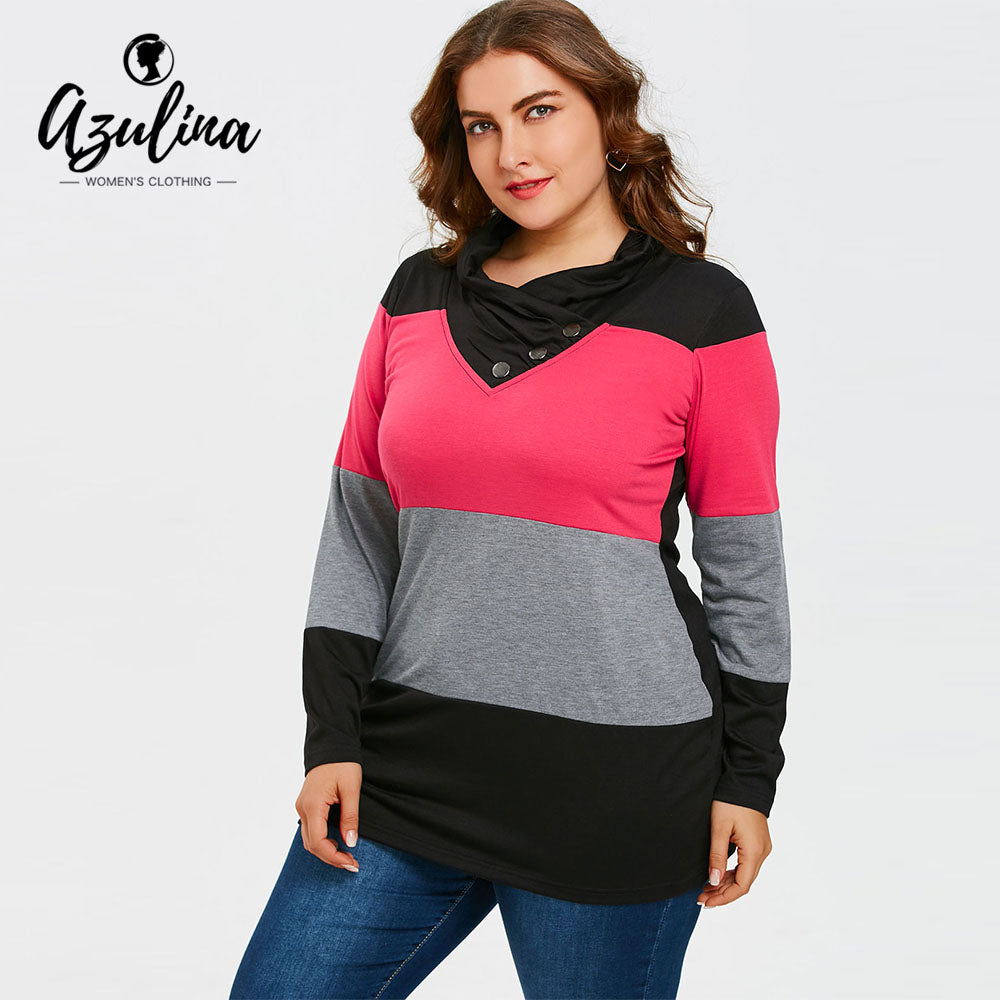 Plus Size Tops Women Collar T-Shirt 2018 Spring