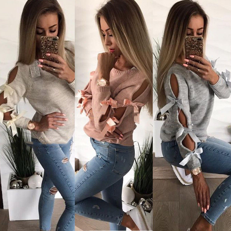 New Women Bow Hollow out Loose O-Neck Tops Blouse Knitwear