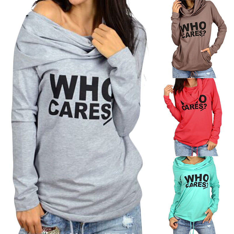 Women Hoodie Causal Hooded Print Letter Pocket Long Sleeve Pullover For Women Sweatshirt