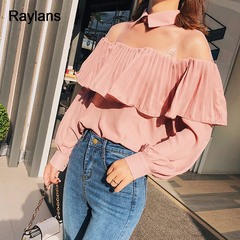Shoulder Off Choker Sexy Women Blouse 2018 Spring Long Sleeve Ruffle Trim